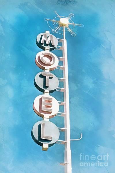 Neon Blue Digital Art - Vintage Motel Digital Artwork by Edward Fielding