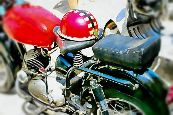 Photograph - Vintage Motorcycle And Helmet by Dorothy Berry-Lound
