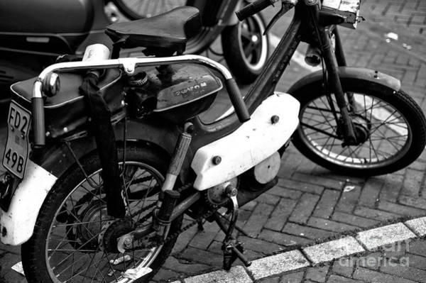 Photograph - Vintage Motorcycle In Amsterdam Mono by John Rizzuto
