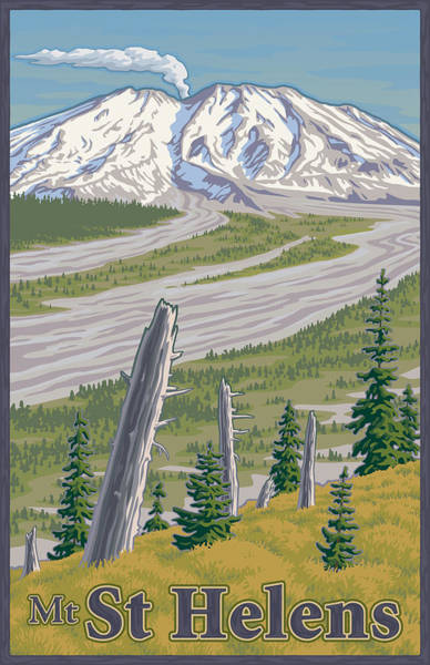 Den Digital Art - Vintage Mount St. Helens Travel Poster by Mitch Frey