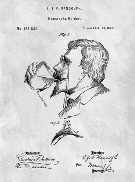 Moustache Mixed Media - Vintage Moustache Holder Patent by Dan Sproul