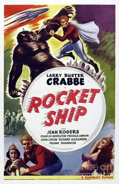 Rocket Painting - Vintage Movie Posters, Rocket Ship by Esoterica Art Agency