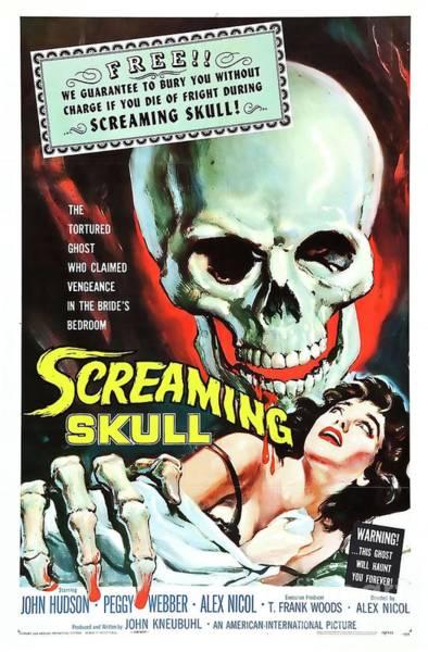 Scream Painting - Vintage Movie Posters, Screaming Skull by Esoterica Art Agency