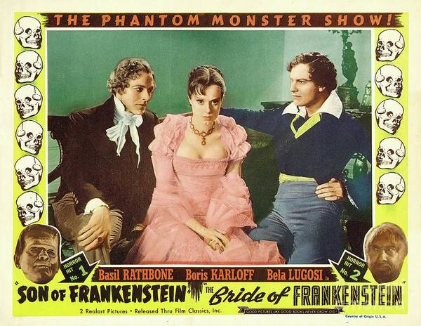 Wall Art - Painting - Vintage Movie Posters, Son And Bride Of Frankenstein by Esoterica Art Agency