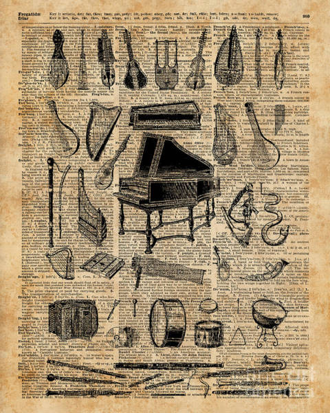 Bedding Digital Art - Vintage Music Instruments Dictionary Art by Anna W