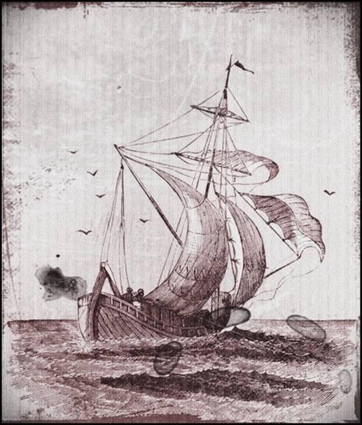 Drawing - Vintage Nautical Black And White Sailing Ship by Vintage Nautical Art