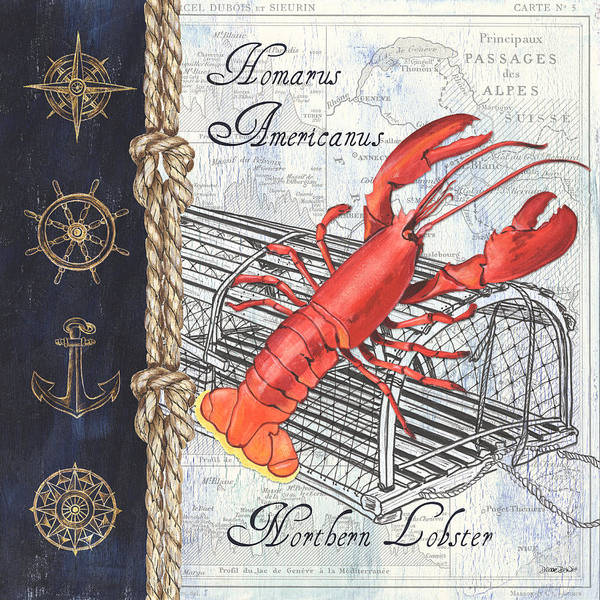 Wall Art - Painting - Vintage Nautical Lobster by Debbie DeWitt