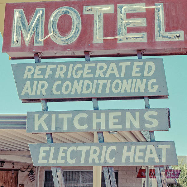 Wall Art - Photograph - Vintage Neon Sign For Plaza Motel Overton Nevada Square by Edward Fielding
