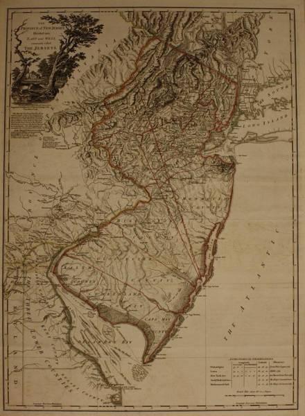 Atlantic Ocean Drawing - Vintage New Jersey Map by Dan Sproul