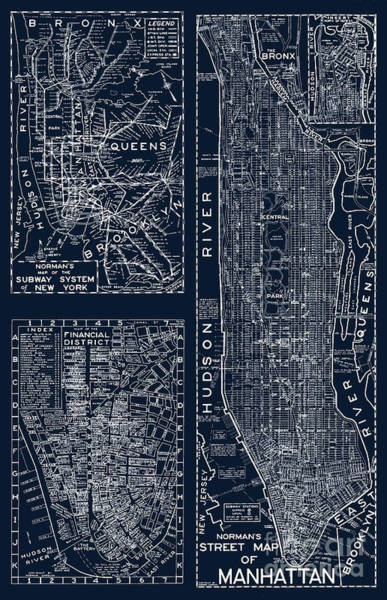Wall Art - Painting - Vintage New York City Street Map by Mindy Sommers