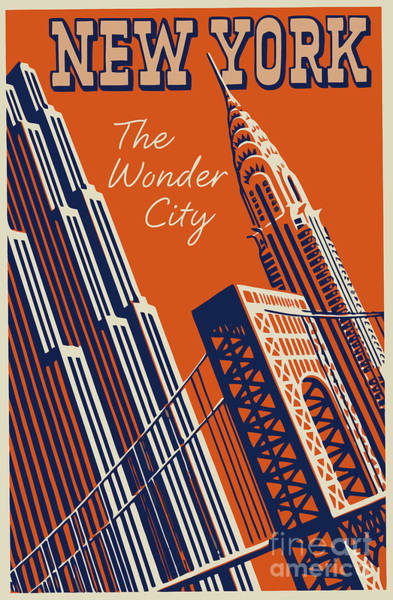 Manhattan Skyline Painting - Vintage New York City Travel Poster by Mindy Sommers