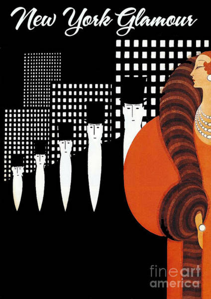 Manhattan Skyline Painting - Vintage New York Glamour Art Deco by Mindy Sommers