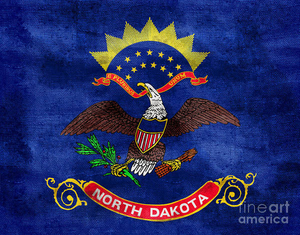 North Dakota Photograph - Vintage North Dakota Flag by Jon Neidert
