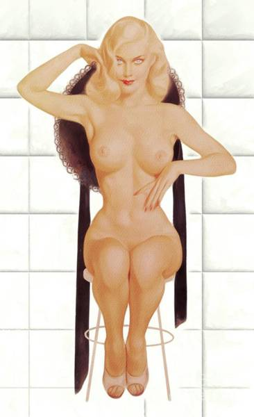 Naturist Wall Art - Painting - Vintage Nude Pinup by Mary Bassett
