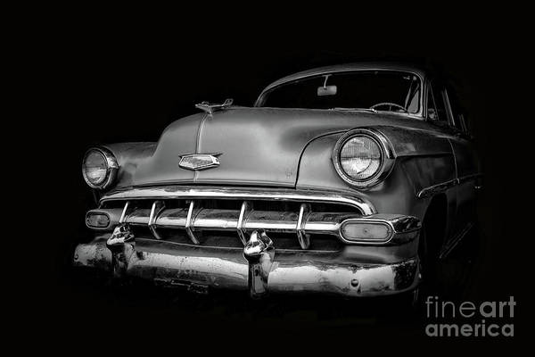 Wall Art - Photograph - Vintage Old Chevy Classic Black And White by Edward Fielding