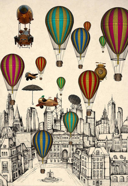 Hot Air Balloon Digital Art - Vintage Old City by Mark Ashkenazi