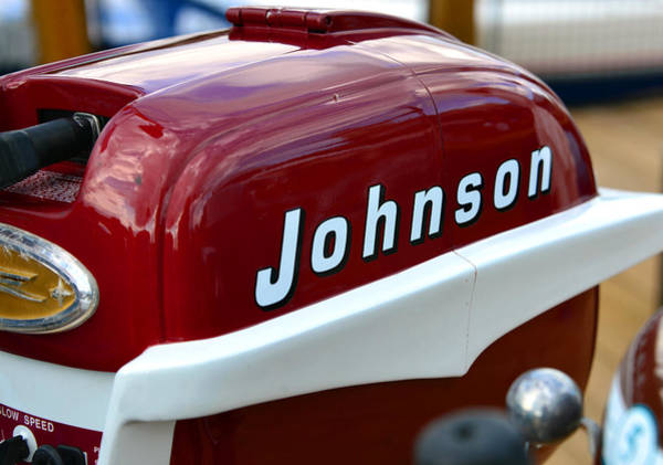 Outboard Photograph - Vintage Johnson Outboard Red  by David Lee Thompson