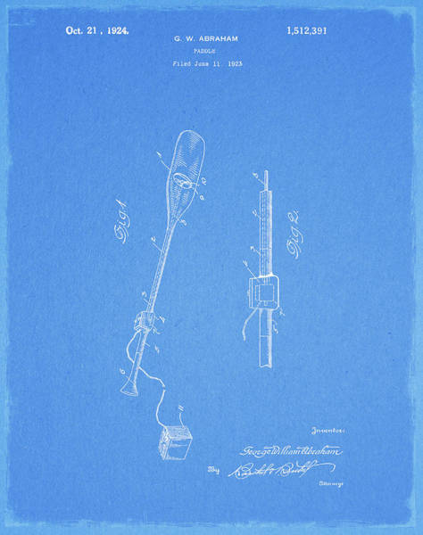 Drawing - Vintage Paddle Patent by Dan Sproul