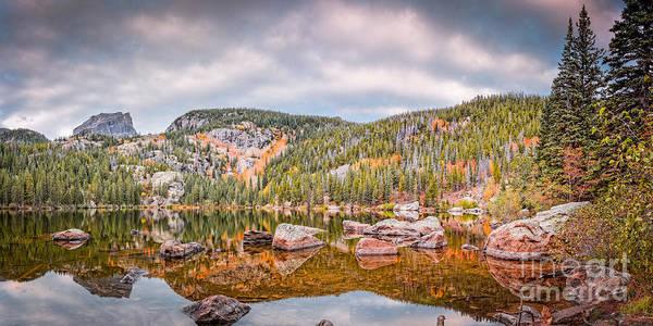Photograph - Vintage Panorama Of Bear Lake In The Fall - Rocky Mountain National Park Estes Park Colorado by Silvio Ligutti