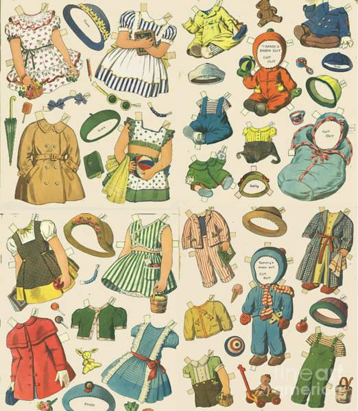 Wall Art - Mixed Media - Vintage Paper Dolls  by Edward Fielding