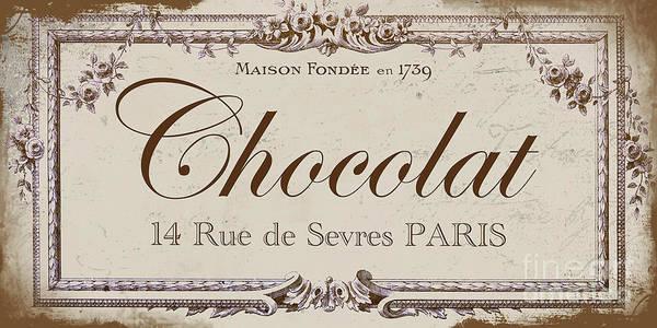 Retro Paris Painting - Vintage Paris Chocolate Sign by Mindy Sommers