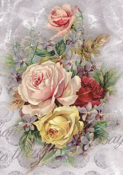Mixed Media - Vintage Pastel Floral by Joy of Life Art Gallery