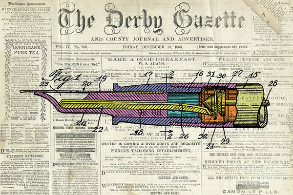 Wall Art - Digital Art - Vintage Patent Pen Drawing, Colorful Art On Old Newspaper by Drawspots Illustrations