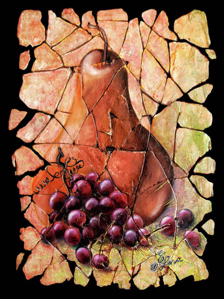 Painting - Vintage  Pear And Grapes Fresco   by OLena Art Brand