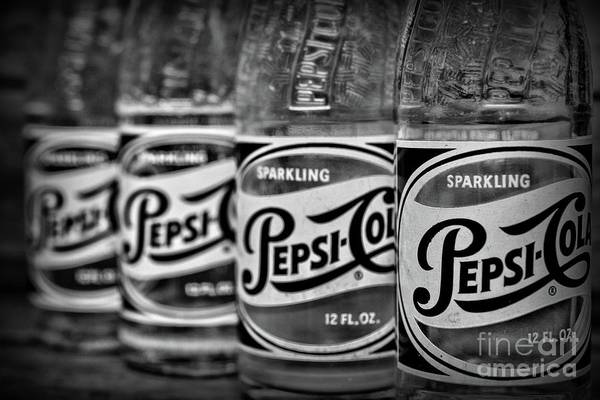 Wall Art - Photograph - Vintage Pepsi Bottle Collection In Black And White by Paul Ward