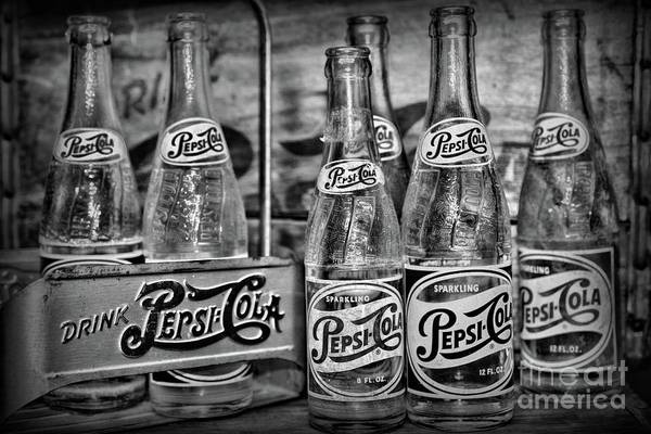 Wall Art - Photograph - Vintage Pepsi Metal Carrier Black And White by Paul Ward