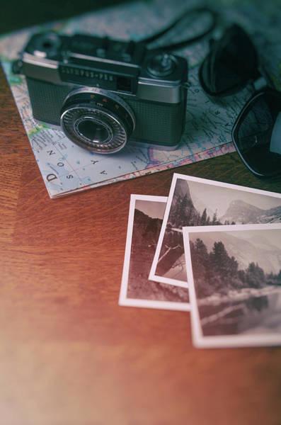 Road Map Photograph - Vintage Photo Camera And Prints by Carlos Caetano