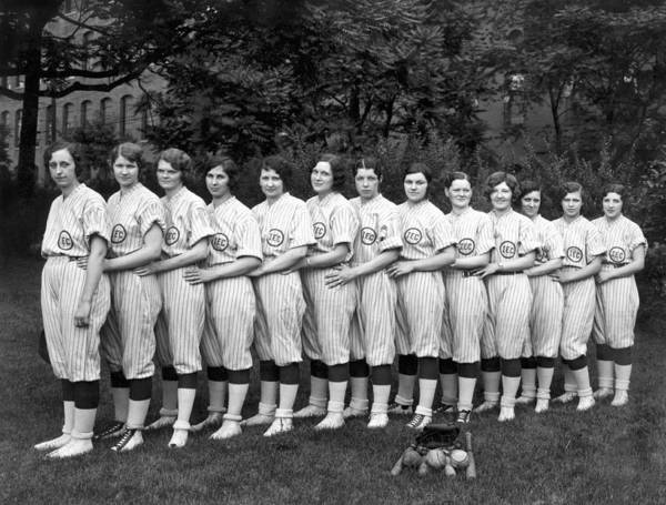 Softball Photograph - Vintage Photo Of Women's Baseball Team by American School