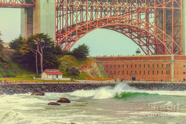 Photograph - Vintage Photograph Of Fort Point And Golden Gate Bridge - San Francisco California by Silvio Ligutti