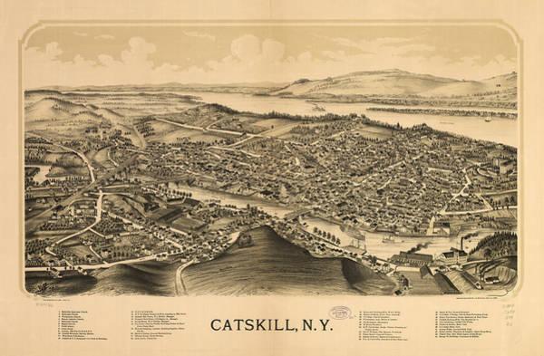 Catskill Drawing - Vintage Pictorial Map Of Catskill New York  by CartographyAssociates
