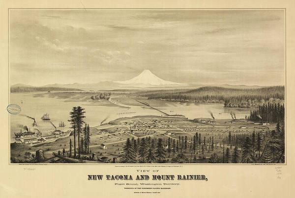 Wa Drawing - Vintage Pictorial Map Of Tacoma Washington - 1878 by CartographyAssociates