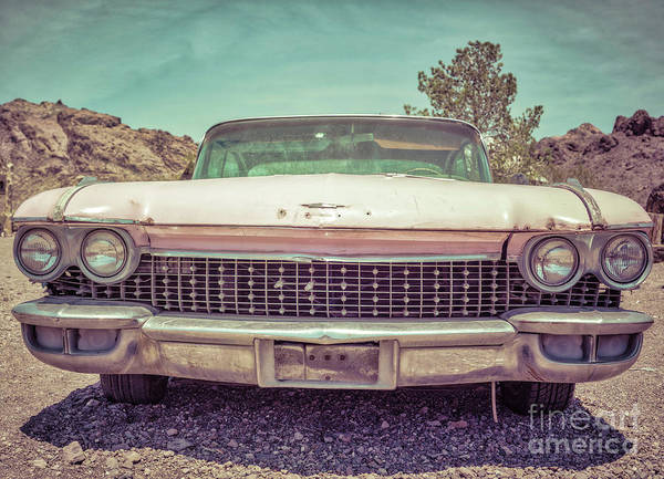 Wall Art - Photograph - Vintage Pink American Car In The Desert by Edward Fielding