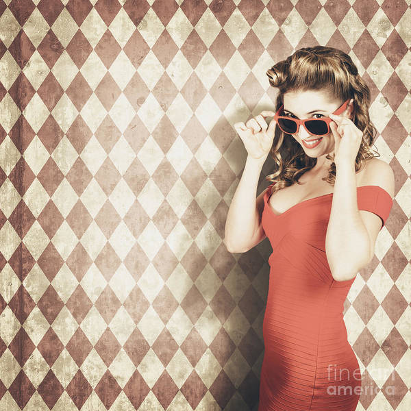 Pinup Photograph - Vintage Pinup Fashion Model In Womens Sunglasses by Jorgo Photography - Wall Art Gallery