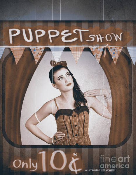 Advertisement Digital Art - Vintage Pinup Girl Inside A Puppet Show Booth by Jorgo Photography - Wall Art Gallery