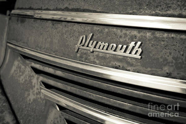 Wall Art - Photograph - Vintage Plymouth Nameplate by Edward Fielding