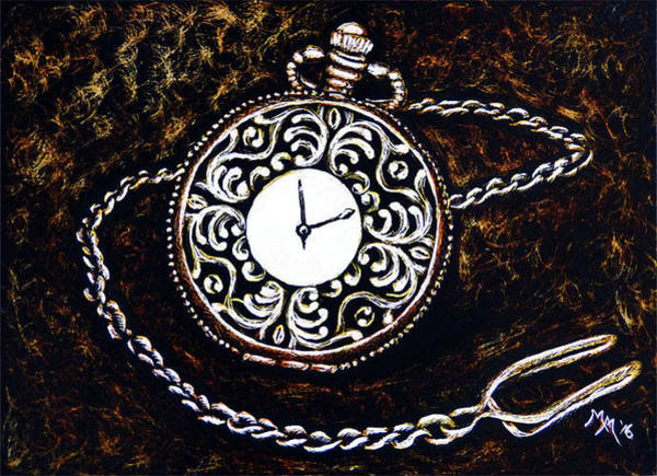 Painting - Vintage Pocket Watch by Monique Morin Matson