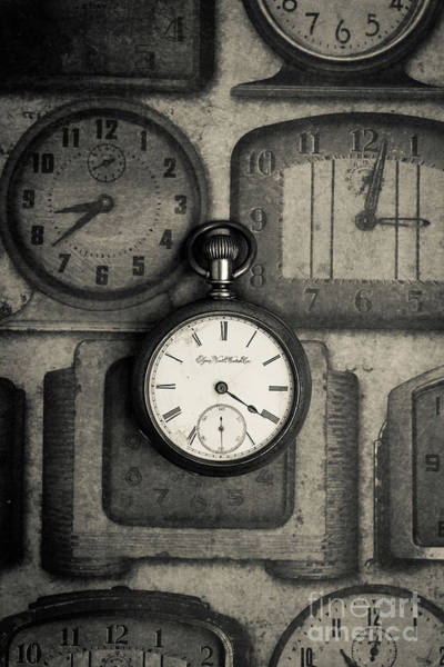 Photograph - Vintage Pocket Watch Over Old Clocks by Edward Fielding