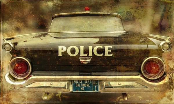 Photograph - Vintage Police Car - Baltimore, Maryland by Marianna Mills