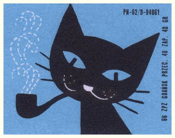 Matchbox Wall Art - Digital Art - Vintage Polish Matchbox Label Cat Smoking Pipe by Retro Graphics