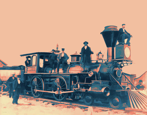 Digital Art - Vintage Pop No 3 Antique Steam Locomotive by David King