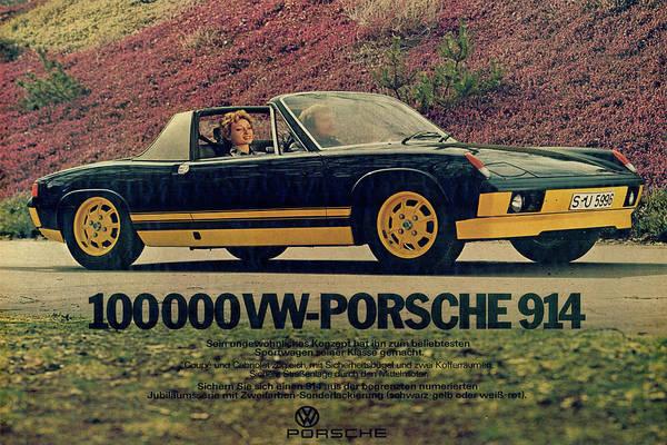 Vintage Poster Mixed Media - Vintage Porsche 914 Car Poster by Design Turnpike