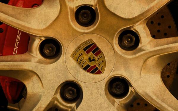 Logo Mixed Media - Vintage Porsche Wheel Logo by Design Turnpike
