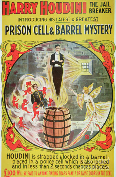 Wall Art - Painting - Vintage Poster Advertising A New Escape Act By Houdini  by American School