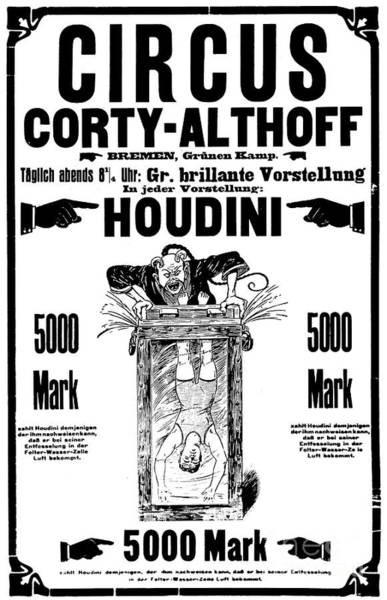 Satan Drawing - Vintage Poster Advertising A Performance By Houdini, 1922 by German School