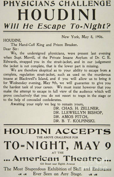 Wall Art - Drawing - Vintage Poster Advertising A Performance By Houdini At The American Theatre, May 1906  by American School