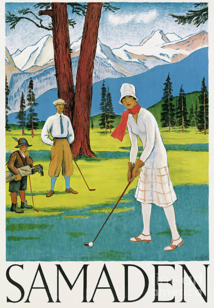 Golfers Painting - Vintage Poster Advertising Samaden In Switzerland by Swiss School